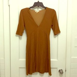 Silence + noise brown fitted mini dress